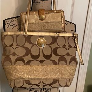 Coach signature canvas tote with wallet